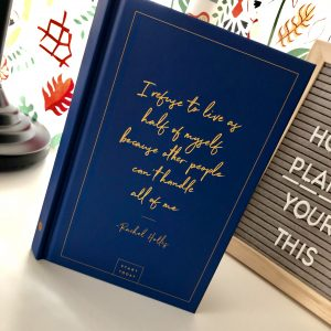 "The Start Today Journal with blue cover and quote ""I refuse to live as half of myself because other people can't handle all of me"" - Rachel Hollis.  This is part of my 2019 Planning Experiment."