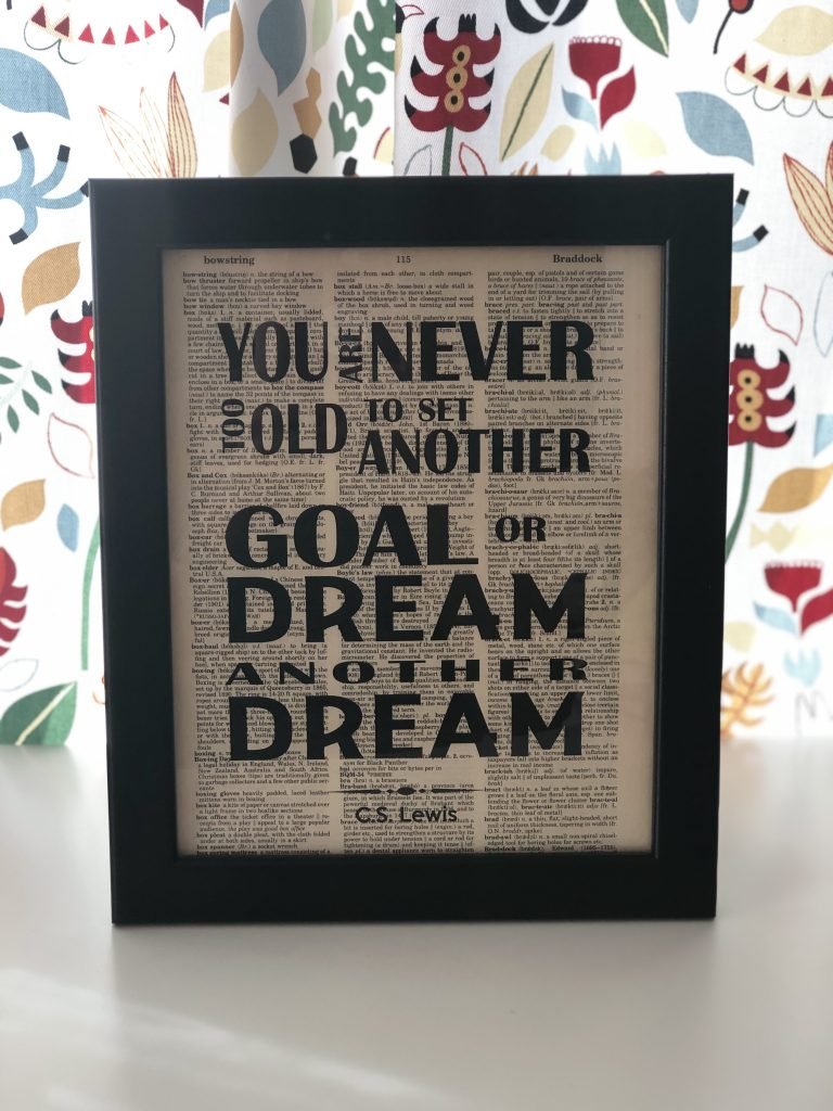 Quotation from C.S. Lewis - You are never too old to set another goal or dream another dream.  My motto for how I start and end the year on purpose