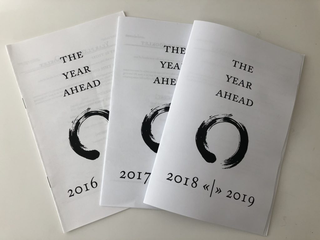 Three years of copies of the Year Compass, from 2016 to 2019.  Part of how I start and end the year on purpose.