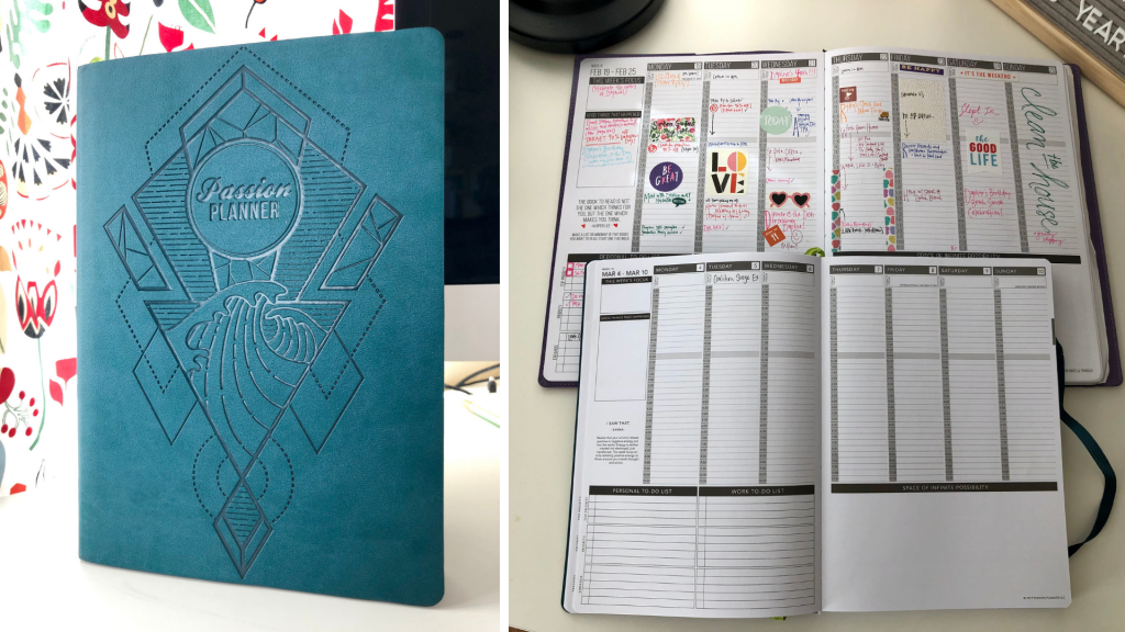 Passion Planner picture and comparison of two sized (pro and classic) for my 2019 Planning Experiment