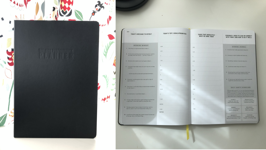 The High Performance Planner, both outside front cover and inside daily pages for my 2019 Planning Experiment.
